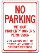 "Warning Sign No Parking, Unauthorized Vehicles Will Be Towed, Made Out of .040 Rust-Free Aluminum, Indoor/Outdoor Use, UV Protected and Fade-Resistant, 10"" x 14"", by My Sign Center"