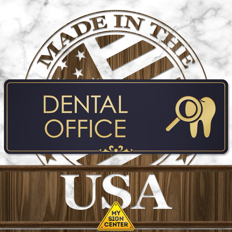 "Dentist Office Sign Dentist Office Accessories, 3"" x 9"", Brushed Metal Finish, Laser Engraved, Prestige Collection, USA Made by MY SIGN CENTER"