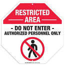 "Restricted Area Authorized Personnel Only Sign - 11""x11"" - Octagon .040 Rust Free Aluminum - Made in USA - UV Protected and Weatherproof - A90-203AL"