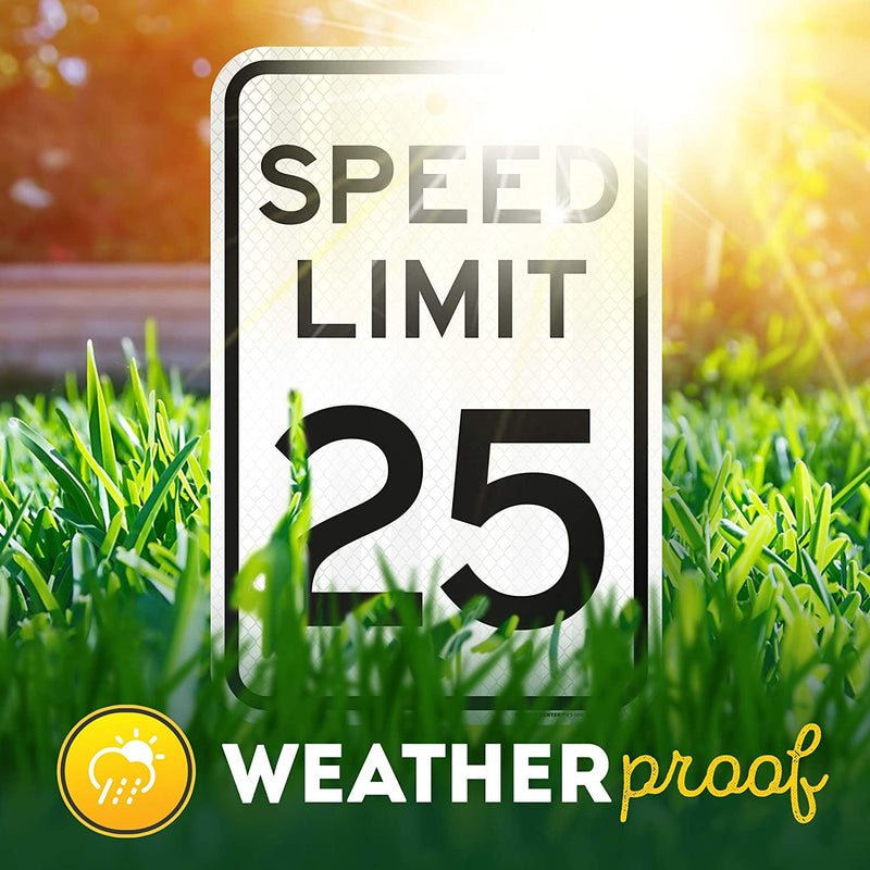 "25 MPH Speed Limit Sign, Made Out of 3M Reflective Engineer Grade Prismatic .063 Rust Free Aluminum, Indoor/Outdoor Use, UV Protected and Fade-Resistant, 12"" x 18"", by My Sign Center"