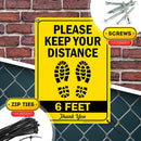 "6 Feet Apart Social Distancing Sign, 10"" x 14"" Industrial Grade Aluminum, Easy Mounting, Rust-Free/Fade Resistance, Indoor/Outdoor, USA Made by MY SIGN CENTER"
