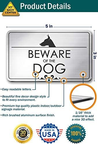 "Beware of The Dog Laser Engraved Sign - 3""x5"" - .050 Black/Gold Plastic"