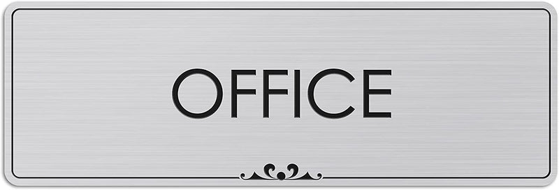 "Office - Laser Engraved Sign - 3""x9"" - .050 Brushed Silver Plastic"