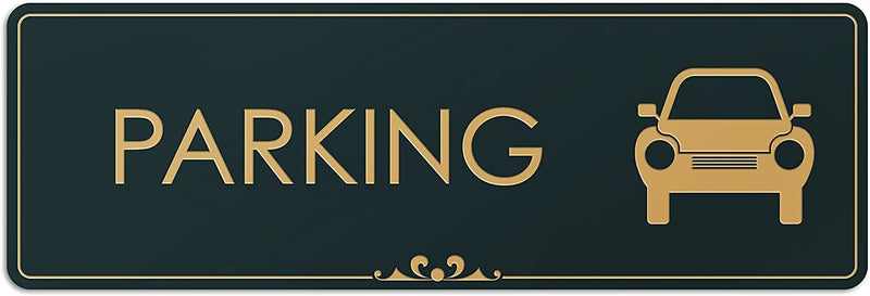 "Parking - Laser Engraved Sign - 3""x9"" - .050 Black and Gold Plastic"