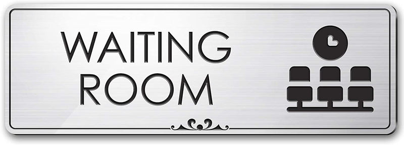 "Office Waiting Room Sign Waiting Area Sign for Office Door, 3"" x 9"", Brushed Metal Finish, Laser Engraved, Prestige Collection, USA Made by MY SIGN CENTER"
