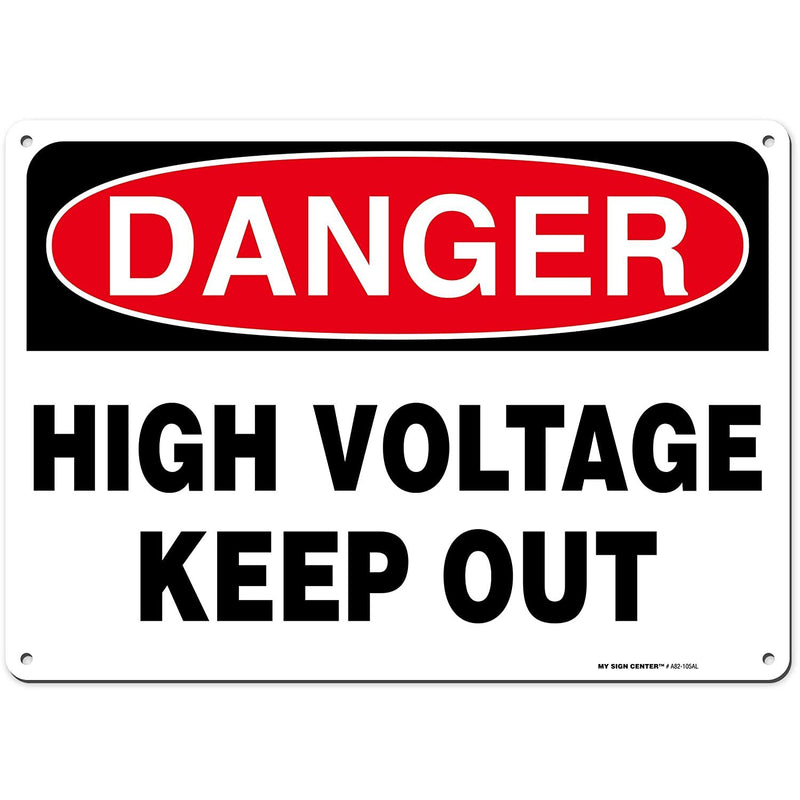 "Danger High Voltage Keep Out Rectangular Electrical Sign by My Sign Center - Rust Free, UV Coated and Weatherproof .040 Aluminum - Rounded Corners and Pre-Drilled Holes - 10"" x 14"" - A82-105AL"