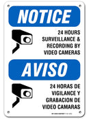 "24 Hour Video Surveillance Sign, Bilingual English/Spanish Video Recording Sign, Outdoor Rust-Free Metal, 7"" x 10"" - A81-392AL"