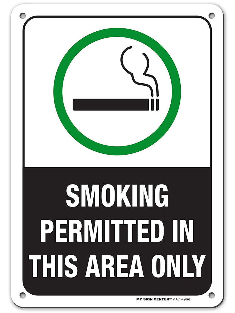 "Designated Smoking Area Sign, Made Out of .040 Rust-Free Aluminum, Indoor/Outdoor Use, UV Protected and Fade-Resistant, 7"" X 10"", by My Sign Center"
