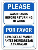 "Employees Must Wash Hands Before Returning to Work Sign English/Spanish, 7"" x 10"" Industrial Grade Aluminum, Easy Mounting, Rust-Free/Fade Resistance, Indoor/Outdoor, USA Made by MY SIGN CENTER"