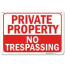 "Private Property No Trespassing Sign, Made Out of .040 Rust-Free Aluminum, Indoor/Outdoor Use, UV Protected and Fade-Resistant, 7"" x 10"", by My Sign Center"