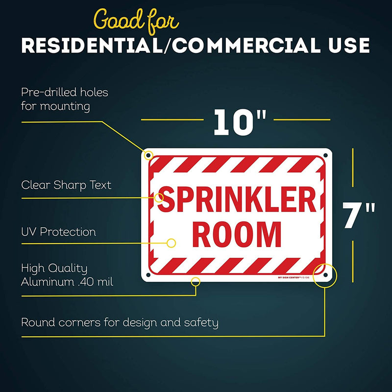 "Fire Sprinkler Sign, Made Out of .040 Rust-Free Aluminum, Indoor/Outdoor Use, UV Protected and Fade-Resistant, 7"" x 10"", by My Sign Center"