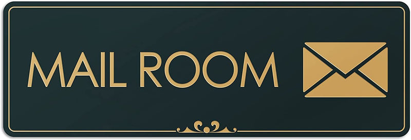 "Mail Room - Laser Engraved Sign - 3""x9"" - .050 Black and Gold Plastic"