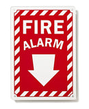 "Fire Alarm with Arrow Down Sign, 10"" X 7"" - .04 Aluminum Fire & Safety Sign - Made in USA - UV Protected and Weatherproof"