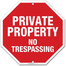 "Private Property No Trespassing Sign, Octagon Shaped Outdoor Rust-Free Metal, 11"" x 11"" - by My Sign Center, 21117F7-A4"
