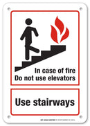 "in Case of Fire Do Not Use Elevators Use Stairways Fire Safety Sign- 10"" X 7"" - .040 Rust Free Heavy Duty Aluminum - Made in USA - UV Protected and Weatherproof - A81-387AL"