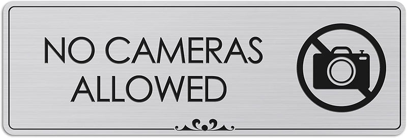 "No Cameras Allowed - Laser Engraved Sign - 3""x9"" - .050 Brushed Silver Plastic"