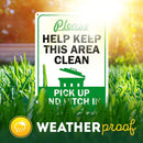 "Please Help Clean This Area, Pick and Pitch in Signs, Made Out of .040 Rust-Free Aluminum, Indoor/Outdoor Use, UV Protected and Fade-Resistant, 10"" x 14"", by My Sign Center"