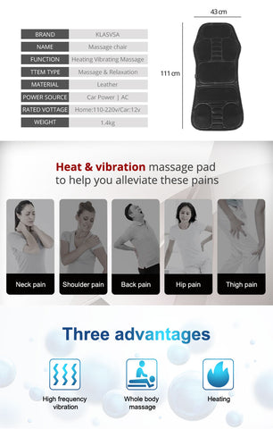Image of Electric Chair Cushion Vibrator Back Massager - Covlac