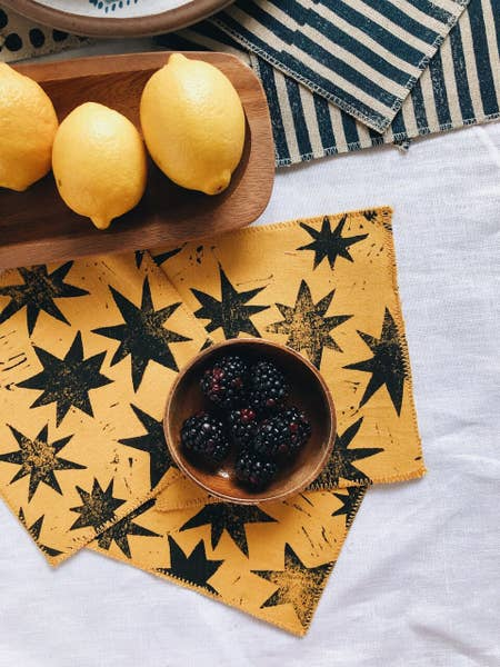 Mustard Stars Block Printed Cocktails Napkins - Set of 4 - Blue New York