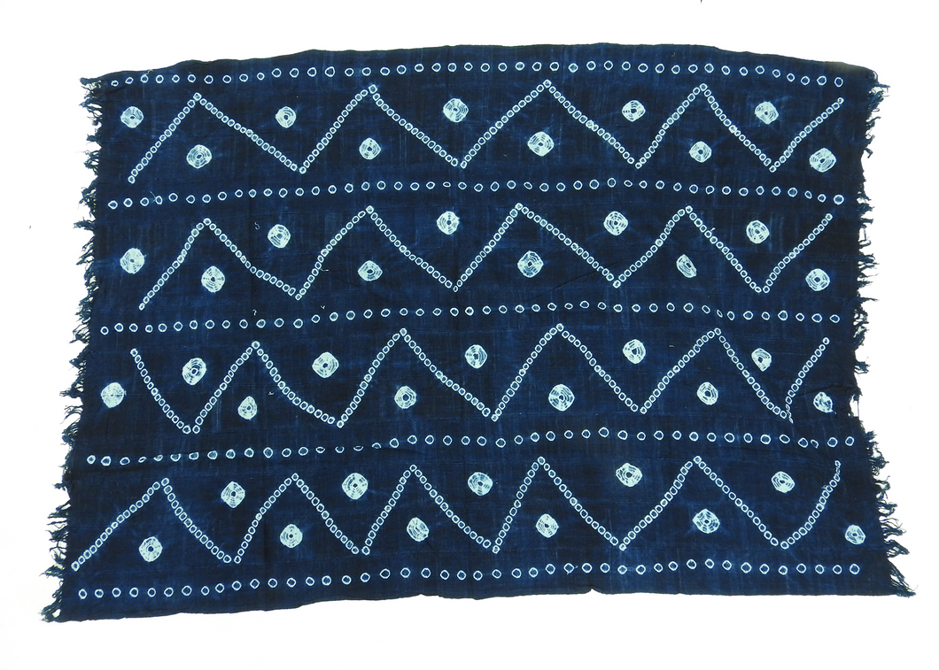 Burkina Faso | Large Throw | Indigo Zig-Zag - Blue New York