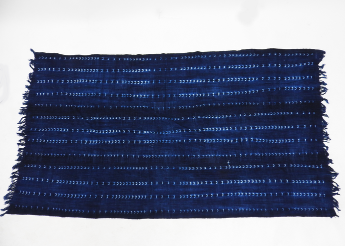 Burkina Faso | Large Throw | Indigo Herring Stripe - Blue New York