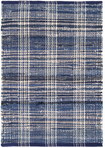 Denim Plaid Woven Cotton Rug 8x10