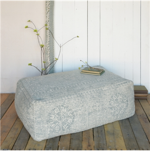 Wyatt Pouf - Rectangle - Sky Grey