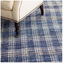 Load image into Gallery viewer, Denim Plaid Woven Cotton Rug 5x8