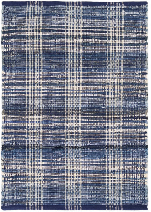 Denim Plaid Woven Cotton Rug 5x8
