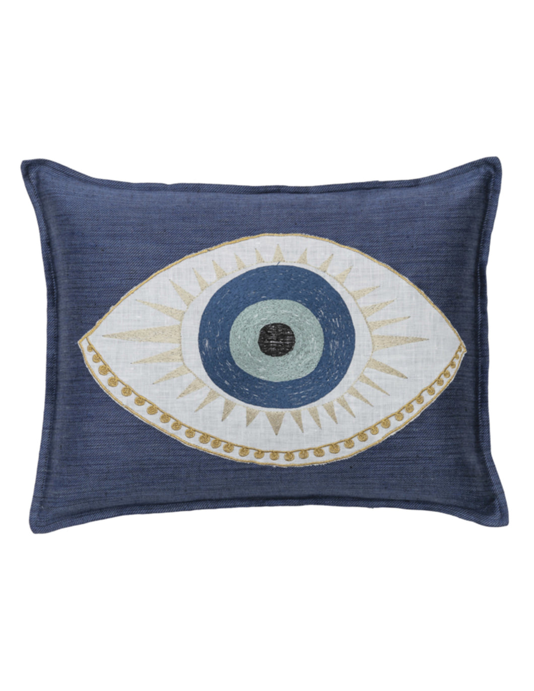 Coral and Tusk | Evil Eye Appliqué | Pillow - Blue New York