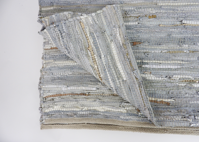 Metallic Leather Rug | White - Blue New York