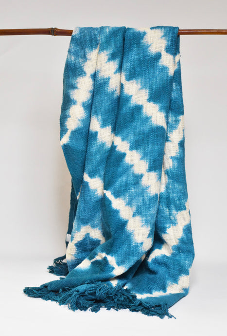 Zigzag Throw/ Tablecloth - Turquoise