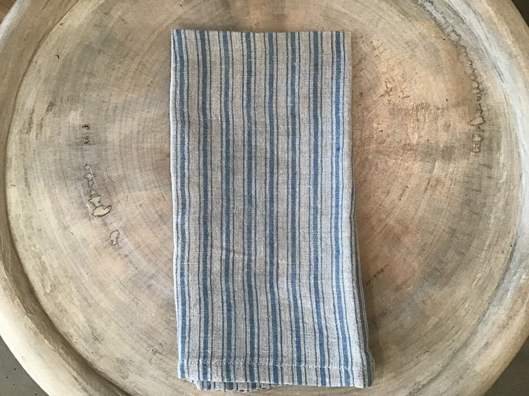 Boat Stripe Linen Napkin - natural and blue - Blue New York