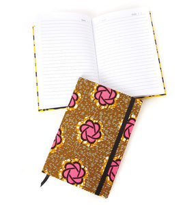 Wax cloth covered lined notebook