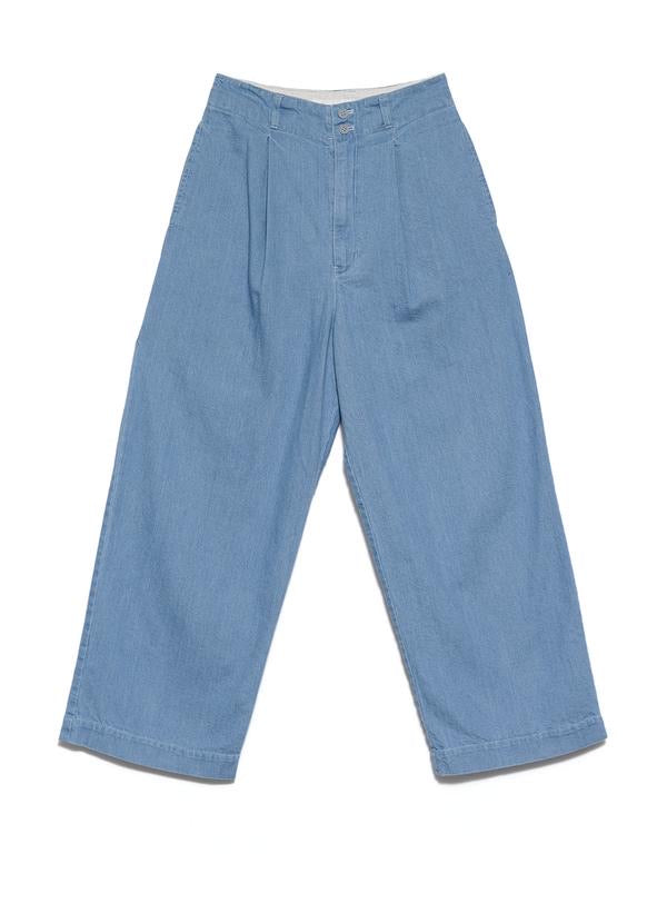 Denim pleated pants - Color Bleach