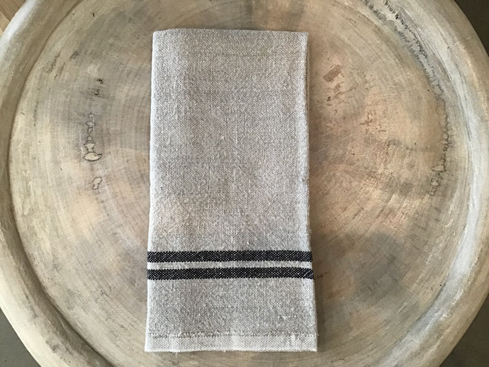 Vintage Linen Towels - natural and black - Blue New York