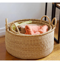 Load image into Gallery viewer, SET OF THREE GHANAIAN NATURAL GRASS FLOOR BASKETS (Can be sold separately)