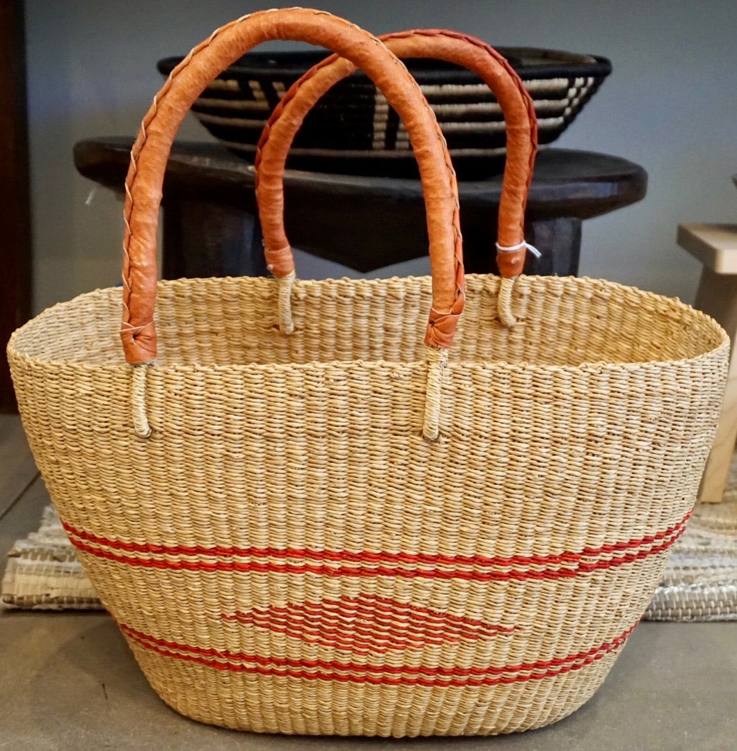 Shopper bag natural and red diamond print with brown leather handle