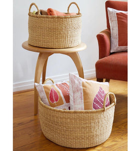 SET OF THREE GHANAIAN NATURAL GRASS FLOOR BASKETS (Can be sold separately)