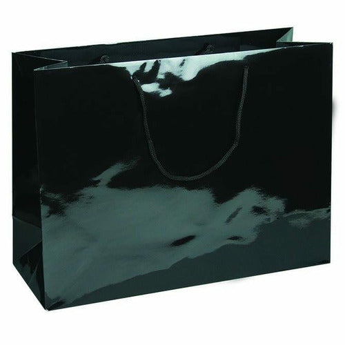 Black Glossy Rope Handle Euro-Tote Shopping Bags - 16.0 x 6.0 x 12.0 - Plastic Bag Partners-Retail Bags - Euro-Tote