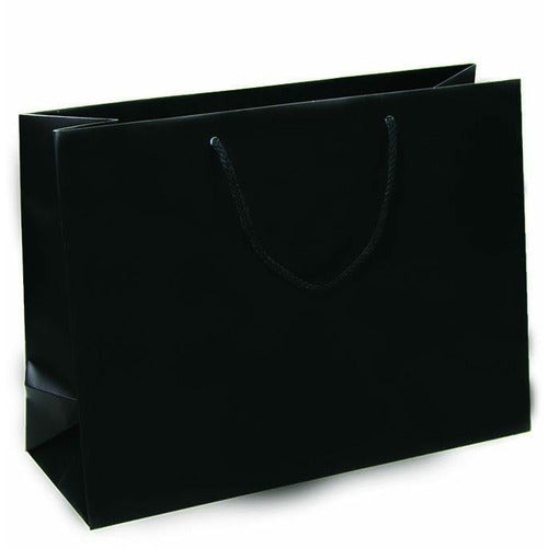 Black Matte Rope Handle Euro-Tote Shopping Bags - 16.0 x 6.0 x 12.0 - Plastic Bag Partners-Retail Bags - Euro-Tote
