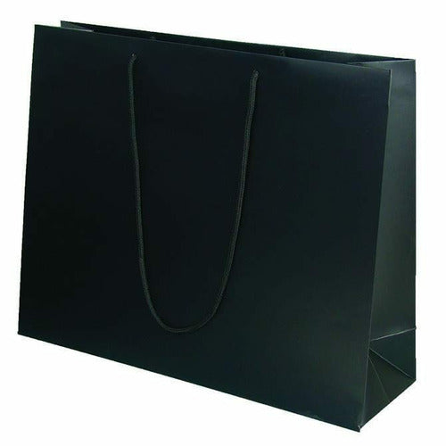 Black Matte Rope Handle Euro-Tote Shopping Bags - 20.0 x 6.0 x 16.0 - Plastic Bag Partners-Retail Bags - Euro-Tote