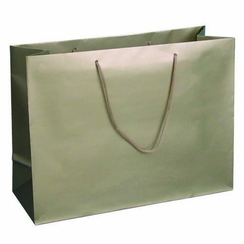 Champagne Matte Rope Handle Euro-Tote Shopping Bags - 16.0 x 6.0 x 12.0 - Plastic Bag Partners-Retail Bags - Euro-Tote