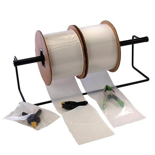 Clear Pre-Opened Auto Machine Bags w/ White Block 5 x 7 x 2 mil - Plastic Bag Partners-Auto Machine Bags