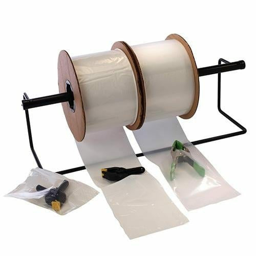 Clear Pre-Opened Auto Machine Bags w/ White Block 8 x 10 x 2 mil - Plastic Bag Partners-Auto Machine Bags