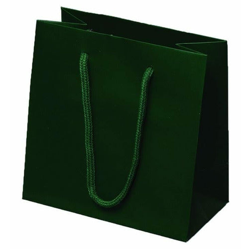 Dark Green Matte Rope Handle Euro-Tote Shopping Bags - 6.5 x 3.5 x 6.5 - Plastic Bag Partners-Retail Bags - Euro-Tote