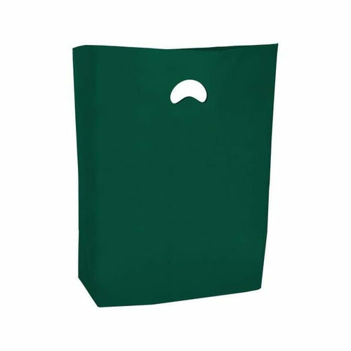"High Density Die Cut Handle Merchandise Bags - 13"" x 3"" x 21"" - (Dark Green) - Plastic Bag Partners-Retail Bags - Die Cut Handle"