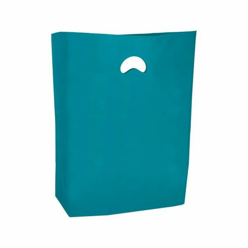 "High Density Die Cut Handle Merchandise Bags - 13"" x 3"" x 21"" - (Teal) - Plastic Bag Partners-Retail Bags - Die Cut Handle"