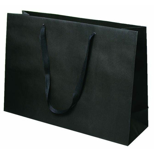 Manhattan Twill Handle Shopping Bags-Black - 20.0 x 6.0 x 14.0 - Plastic Bag Partners-Retail Bags - Manhattan Bags