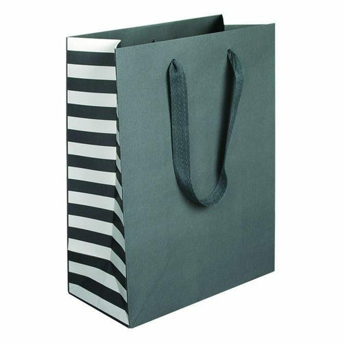 Manhattan Twill Handle Shopping Bags-Gray Stripe - 10.0 x 5.0 x 13.0 - Plastic Bag Partners-Retail Bags - Manhattan Bags